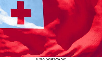 The national flag of Tonga is flying in the wind.