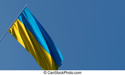 The national flag of Ukraine flutters in the wind against the sky