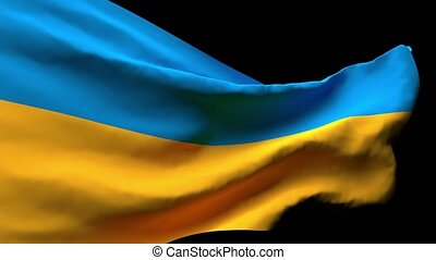 The national flag of Ukraine flutters in the wind