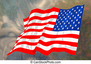 The national flag of United State of America on metal surface