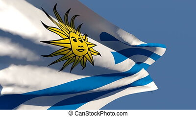 The national flag of Uruguay flutters in the wind