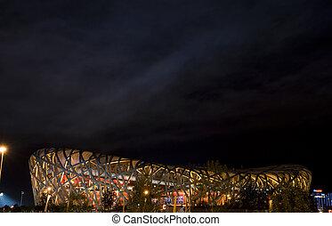 The National Olympic Stadium Bird's Nest night scenes in Beijing of China