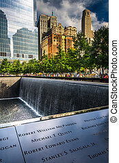 The National September 11th Memorial, in Manhattan, New York.