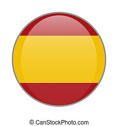 The national Spanish flag round glossy icon. Spain badge Isolated on white background.