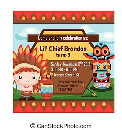 The Native American Boy invitation