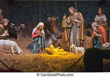 The Nativity scene. - The Nativity scene at the Grotto in...