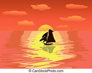 sailboat sunset sea