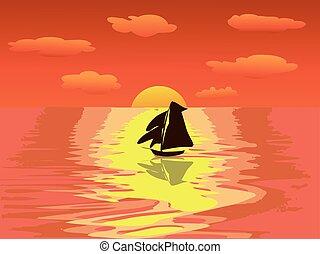 sailboat sunset sea