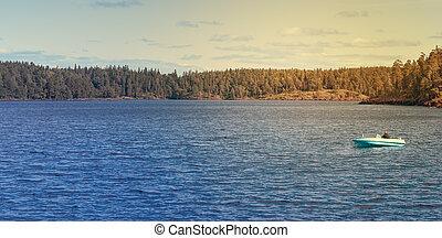 The nature of lake Ladoga Sunny day