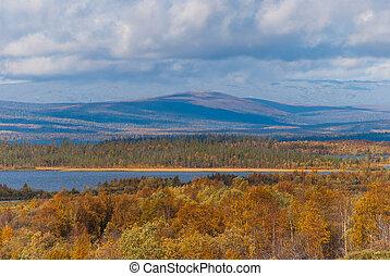 Autumn landscape, the nature of the Russian north. Autumn tundra. Russia, Kola Peninsula, Khibiny