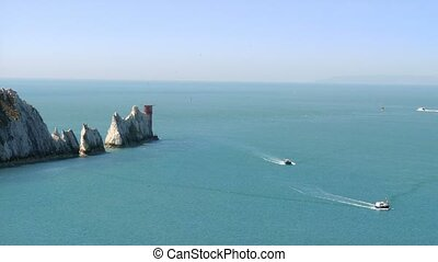 The Needles rock formation on the Isle Of Wight England UK...