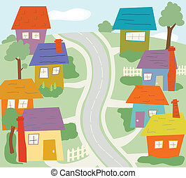 The Neighborhood - Colorful, cartoon neighborhood scene with...
