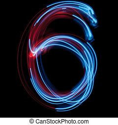 The neon number 6, blue light image
