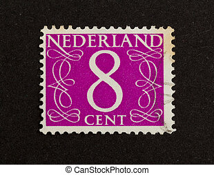 THE NETHERLANDS - CIRCA 1950: Stamp printed in the Netherlands shows the number 8, circa 1950