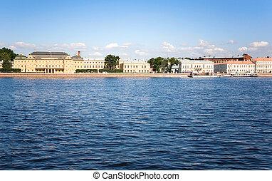 The Neva embankment. Saint-Petersburg, Russia