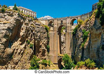 The New Bridge Puente Nuevo in Ronda, Province Of Malaga, Spain