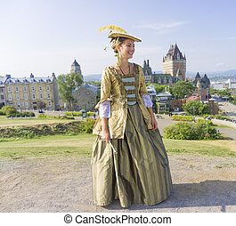 New France costume style outside portrait