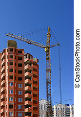 The new house - Building of the new high house by the crane