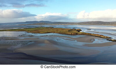 The new road and viewpoint between Glenties and Lettermacaward at the Gweebarray bay n County Donegal - Ireland