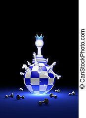 The new ruler. Elite Society (chess metaphor). 3D render illustration. Free space for text.