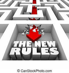 The New Rules Maze Break Through Walls 3d Illustration