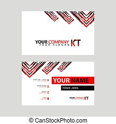 The new simple business card is red black with the KT logo Letter bonus and horizontal modern clean template vector design. TK Vector Logo