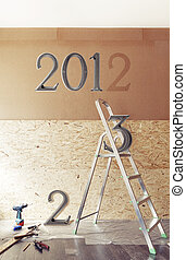 The New Year is coming concept - numbers 2013 instead of 2012