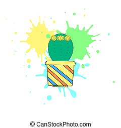 The nice cactus with flower on the white background . Vector illustration.