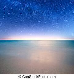The nice star over sea before sunrise
