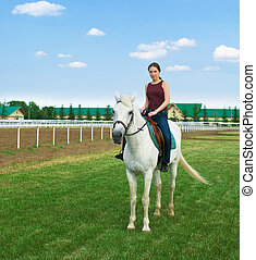 The nice young girl astride a horse on a hippodrome