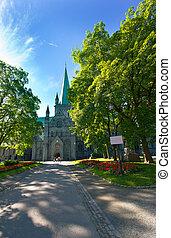 The Nidaros Cathedral in Trondheim ,Norway