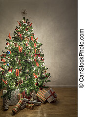 Beautiful illuminated christmas tree in a living room