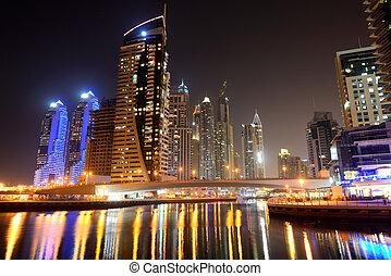 The night illumination at Dubai Marina, Dubai, UAE