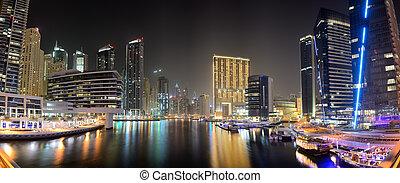 The night illumination of Dubai Marina