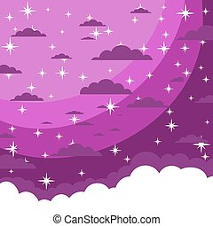 The night sky in cartoon style