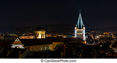 The night view of medieval insular palace Palais de l'Ile jail in Annecy, France