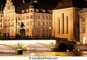 The night view of the Fraumunster in Zurich