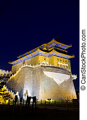 the night view of the Qianmen tower