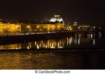 The night View on Prague National Theater with Vltava river, Czech Republic