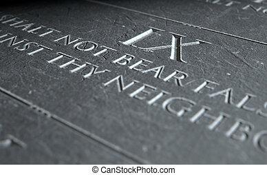 The Ninth Commandment - A 3D render of closeup of the ten...