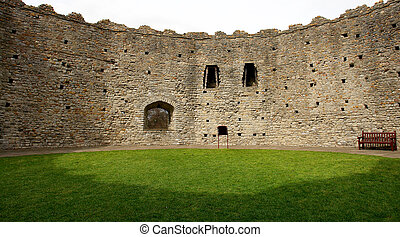 The Norman keep from inside, in Cardiff castle. Wales. UK