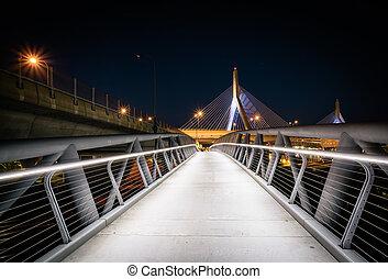 The North Bank Pedestrian Bridge at night, in Boston, Massachusetts.