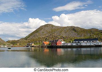The Norwegian village Skrova on Norwegian Lofoten Islands