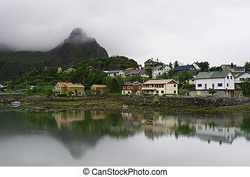The Norwegian village Svolvaer on Lofoten Islands