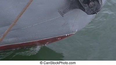 The nose of the ship is close up. Sea liner or cargo ship...
