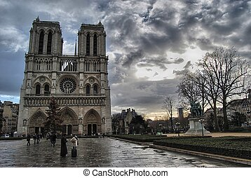 The Notre Dame Cathedral after a storm