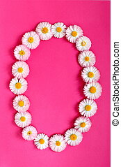 The number 0 is written in white pink flowers on a bright pink background
