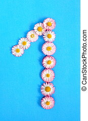 The number 1 is written in white pink flowers on a blue background.