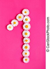 The number 1 is written in white pink flowers on a bright pink background
