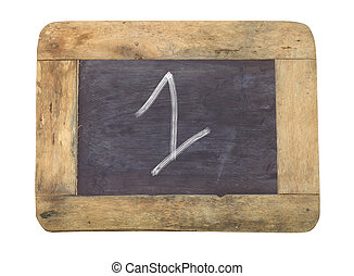 """The number """"1"""" written with white on a blackboard"""